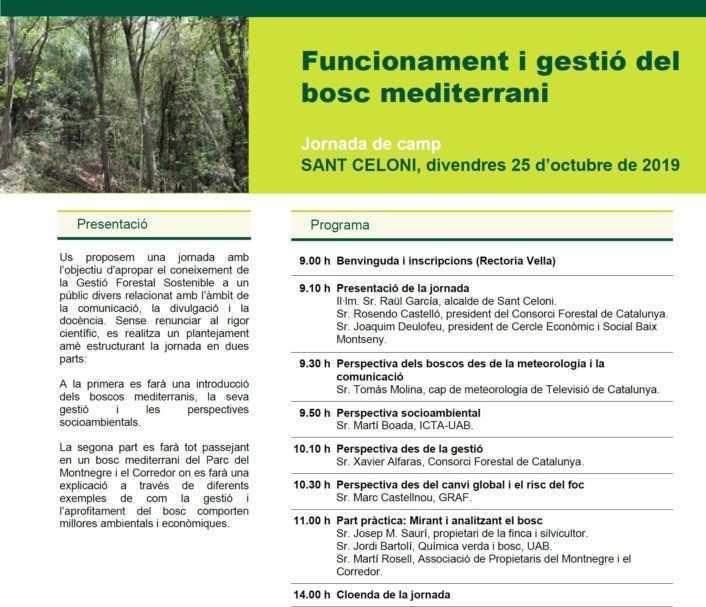 Programa de la Jornada del Bosc Mediterrani Montnegre-Montseny 2019