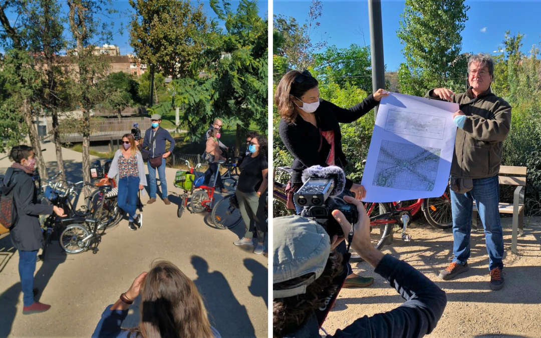 Xavier Mayor i Clara Montaner explicant el projecte de la plaça de les Glòries