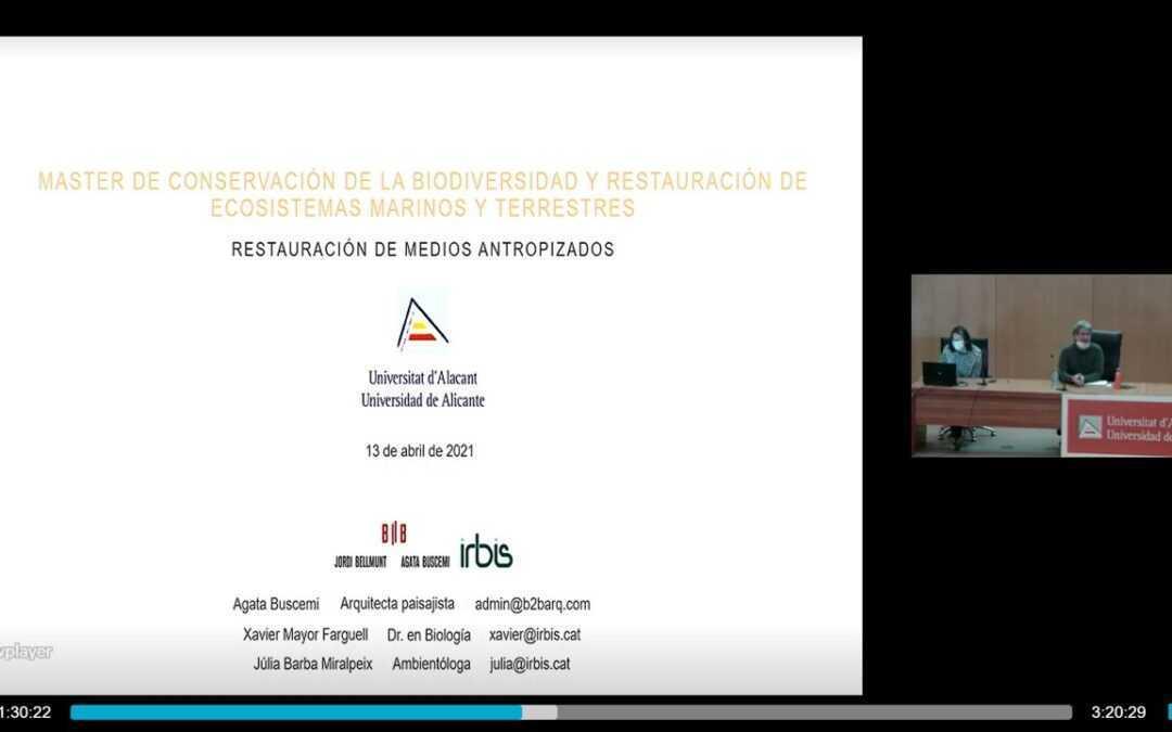 Taller de ecología y restauración en medios urbanos en la Universidad de Alicante
